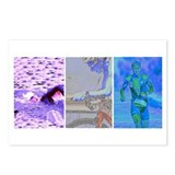 SOLO TRIATHLON TRIPTYCH PAINTING 2 Postcards (Pack
