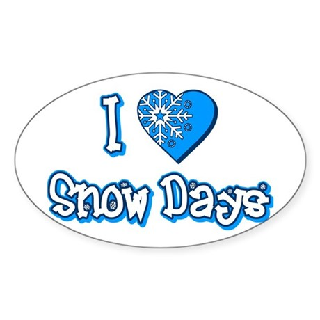 I Love [Heart] Snow Days Oval Sticker