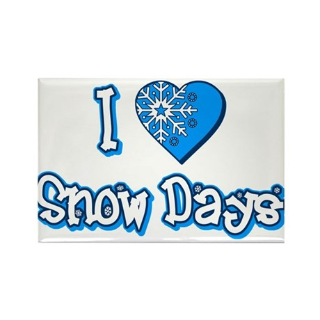 I Love [Heart] Snow Days Rectangle Magnet