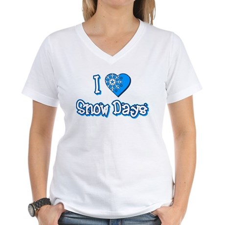 I Love [Heart] Snow Days Womens V-Neck T-Shirt
