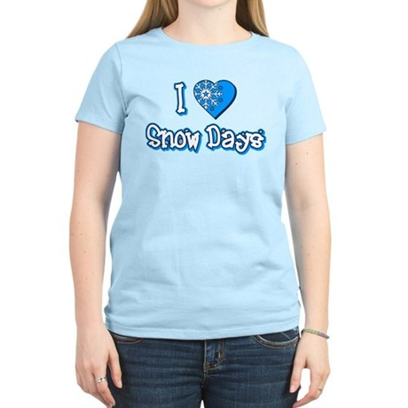 I Love [Heart] Snow Days Womens Light T-Shirt