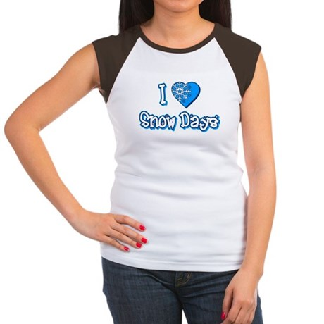 I Love [Heart] Snow Days Womens Cap Sleeve T-Shir