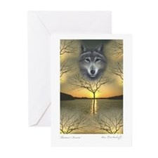 Wolf ~ 'Shaman's Dream' Greeting Cards (10 Pack)