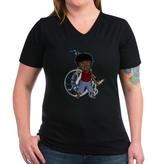 Keith Broken Rt Arm Women's V-Neck Dark T-Shirt