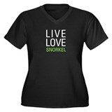 Live Love Snorkel Women's Plus Size V-Neck Dark T-