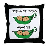 Mommy of Twins Again Throw Pillow