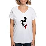 Kokopelli Skateboard Women's V-Neck T-Shirt