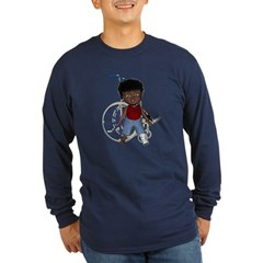 Keith Broken Left Leg Long Sleeve Dark T-Shirt