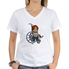 Kevin Broken Right Leg Women's V-Neck T-Shirt