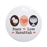 Peace Love Hanukkah Chanukah Ornament (Round)