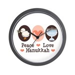 Peace Love Hanukkah Chanukah Wall Clock