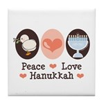 Peace Love Hanukkah Chanukah Tile Coaster