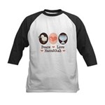 Peace Love Hanukkah Chanukah Kids Baseball Jersey