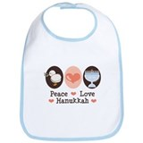Peace Love Hanukkah Chanukah Bib