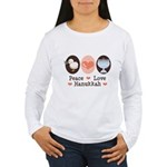 Peace Love Hanukkah Chanukah Women's Long Sleeve T