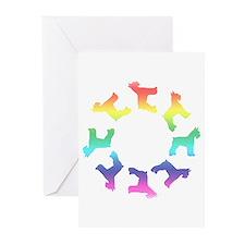 Rainbow Schnauzer Circle Greeting Cards (Pk of 10)