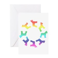 Rainbow Schnauzer Circle Greeting Card