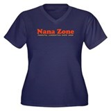 Nana Zone Women's Plus Size V-Neck Dark T-Shirt