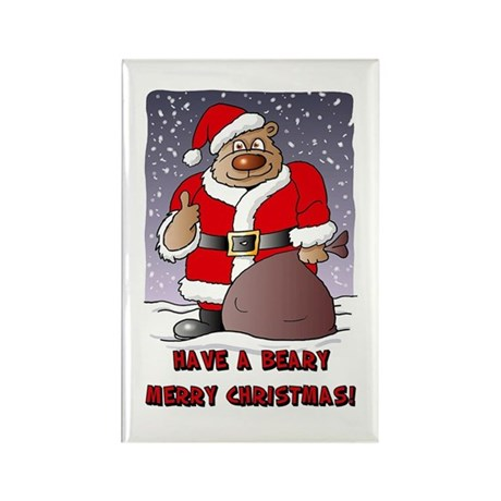 Beary Merry Christmas Rectangle Magnet (10 pack)
