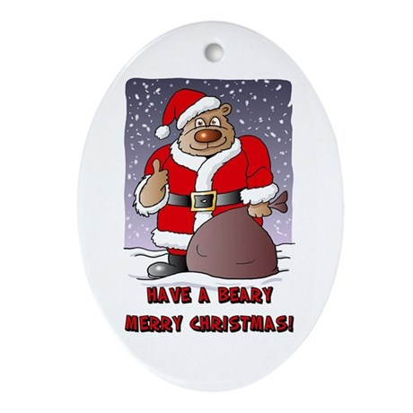 Beary Merry Christmas Oval Ornament