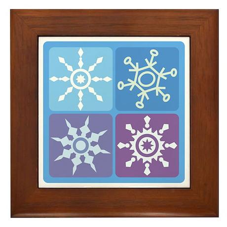 Snowflake Squares Framed Tile
