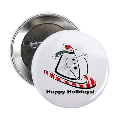 "Holiday Snowman 2.25"" Button"