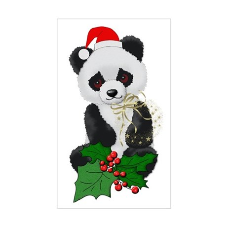Christmas Panda Rectangle Sticker