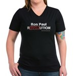 Ron Paul Women's V-Neck Dark T-Shirt