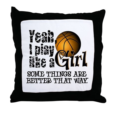 Play Like a Girl - Basketball Throw Pillow