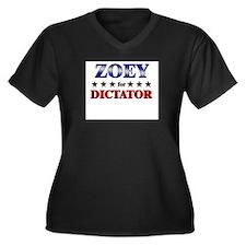 ZOEY for dictator Women's Plus Size V-Neck Dark T-