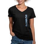 Kazakhstan Stamp Women's V-Neck Dark T-Shirt