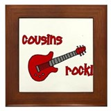 Cousins Rock! red guitar Framed Tile