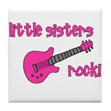 Little Sisters Rock! pink gui Tile Coaster
