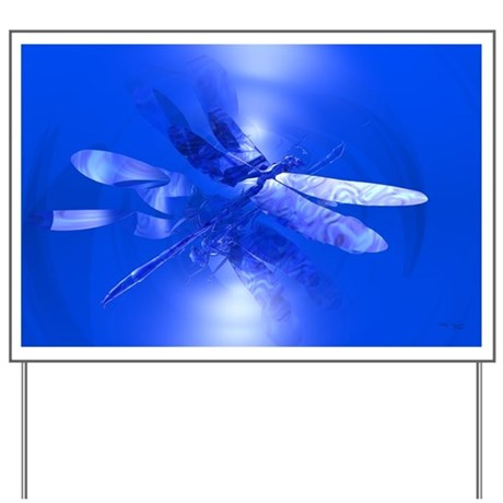 Blue Dragonfly Yard Sign