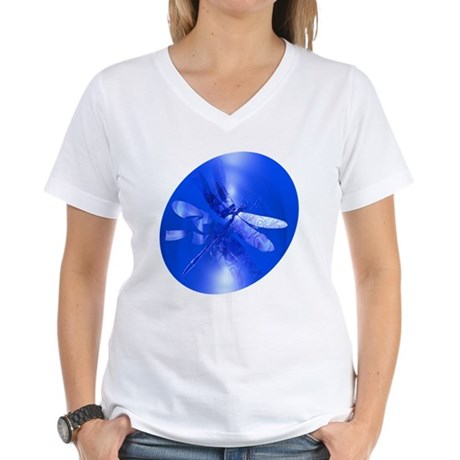 Blue Dragonfly Women's V-Neck T-Shirt