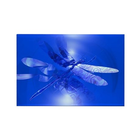 Blue Dragonfly Rectangle Magnet (100 pack)