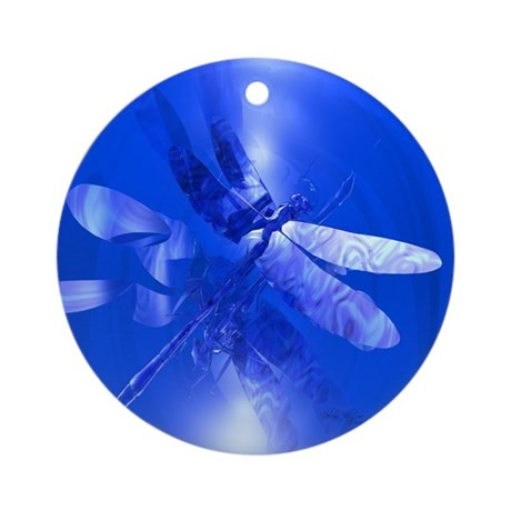 Blue Dragonfly Ornament (Round)