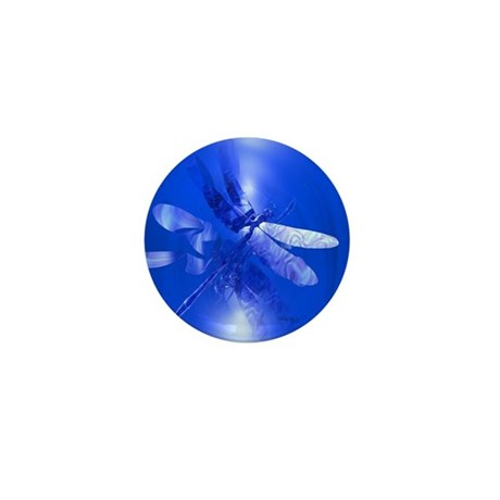 Blue Dragonfly Mini Button