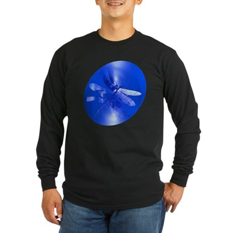 Blue Dragonfly Long Sleeve Dark T-Shirt