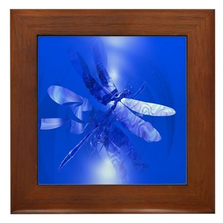 Blue Dragonfly Framed Tile
