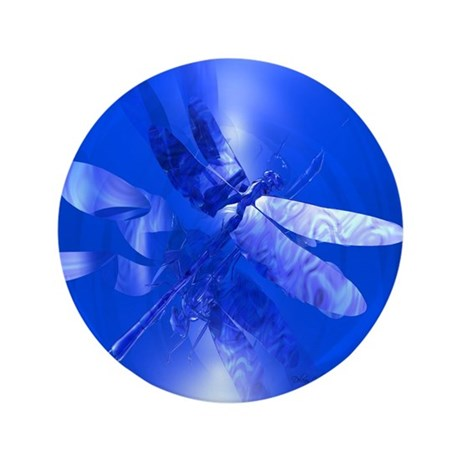"Blue Dragonfly 3.5"" Button (100 pack)"