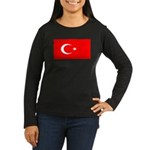 Turkey Turkish Blank Flag Women's Long Sleeve Dark