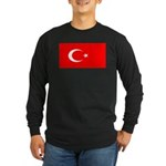 Turkey Turkish Blank Flag Long Sleeve Dark T-Shirt