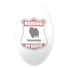 Pomeranian On Guard Oval Decal