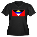 Antigua Barbuda Blank Flag Women's Plus Size V-Nec