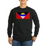 Antigua Barbuda Blank Flag Long Sleeve Dark T-Shir