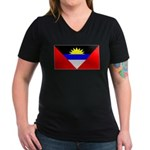 Antigua Barbuda Blank Flag Women's V-Neck Dark T-S
