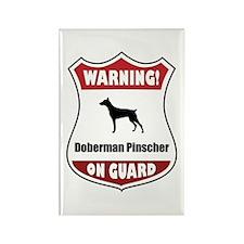 Doberman On Guard Rectangle Magnet