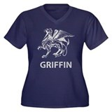 Griffin Women's Plus Size V-Neck Dark T-Shirt