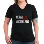 Off Duty Legal Assistant Women's V-Neck Dark T-Shi
